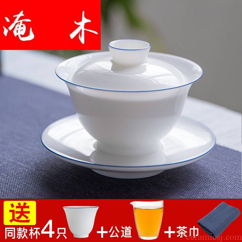 Submerged wood pure manual only three tureen thin foetus large bowl jingdezhen sweet white porcelain cups domestic tea bowl suit