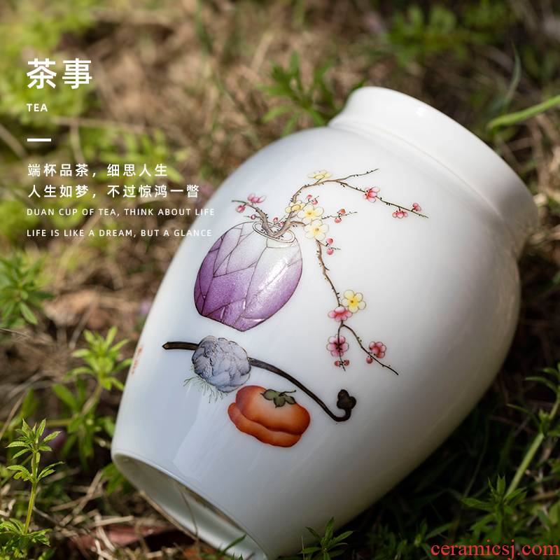 Everything is going well with pastel ganoderma lucidum tea canister jingdezhen pure manual painting exquisite small caddy fixings ceramic tea set