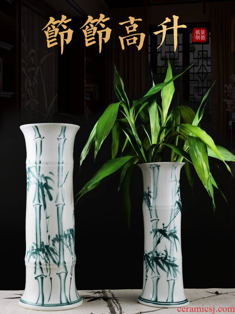 Aquatic culture lucky bamboo flower arranging machine hand draw blue and white porcelain vase furnishing articles of jingdezhen ceramics landing, a large living room