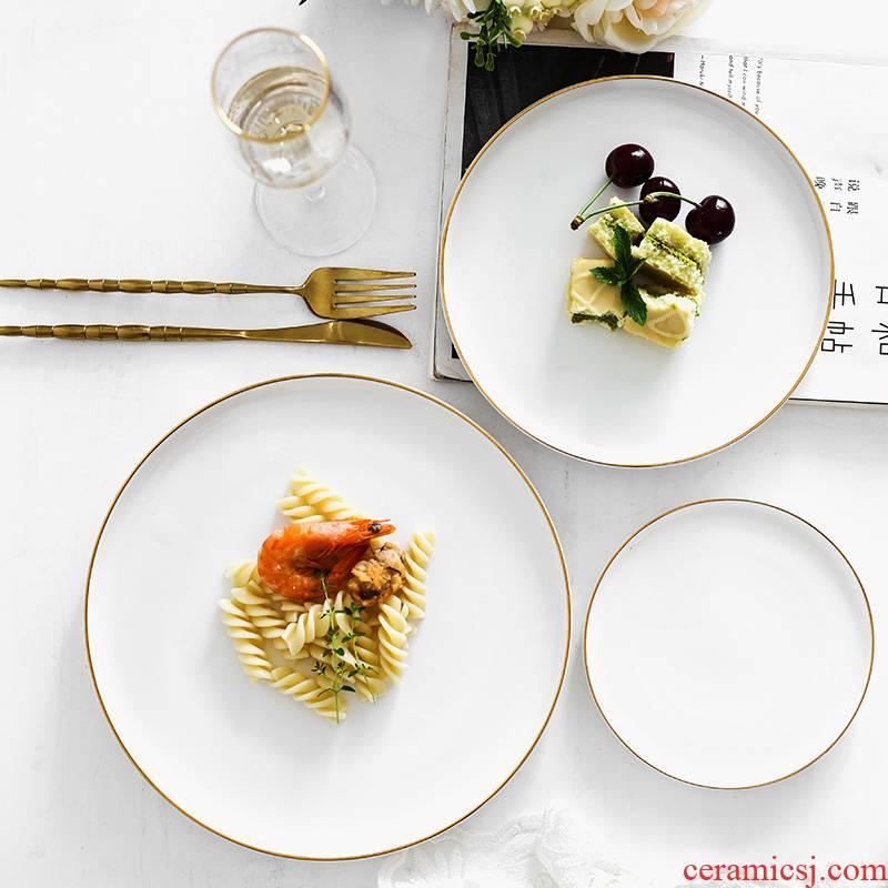 Ins wind steak gilded edge small key-2 luxury ceramic plate plate plate western dessert bread plate look fine