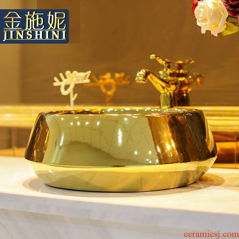 Gold cellnique jingdezhen ceramic sanitary ware art stage basin sink basin 623 Gold - plated