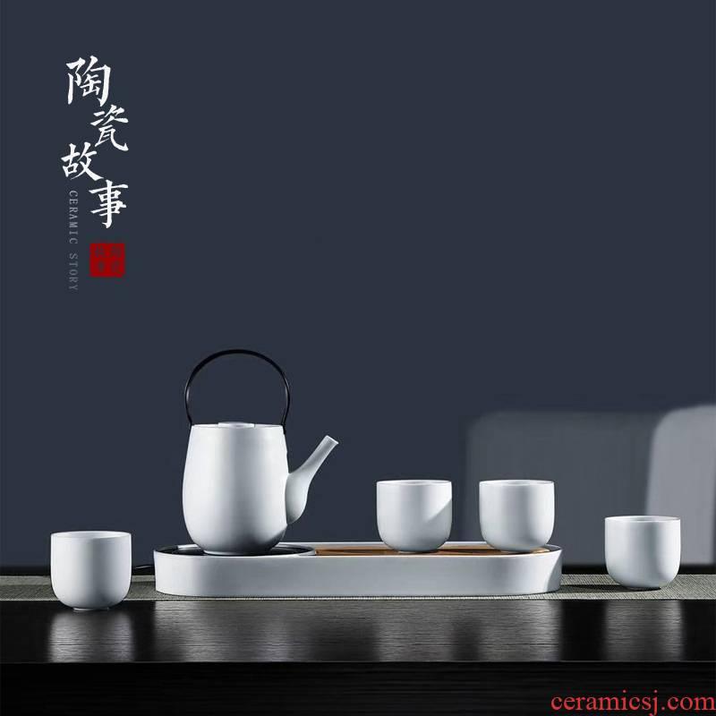 Ceramic story kung fu tea set suit Japanese teapot teacup tea stove temperature home sitting room ground tea set