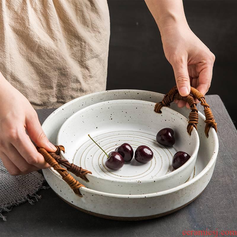 Japanese dishes retro coarse pottery dishes manual basket creative household fish dish ceramic vintage plate