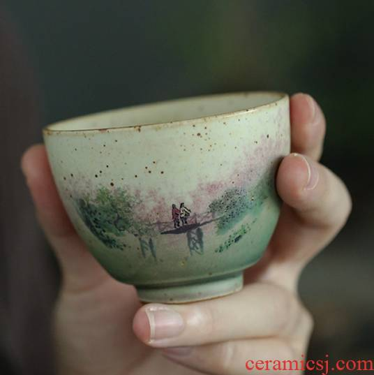 Ya xin company hall flagship store on harmony of coarse pottery hand - made personal rural wind cup cup sample tea cup