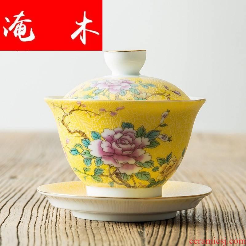 Flooded wooden pick flowers tureen large white porcelain of jingdezhen ceramics pastel colored enamel three bowl is kung fu