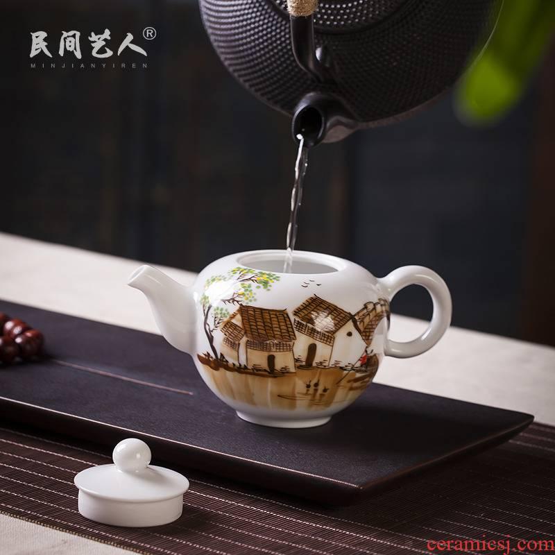 Jingdezhen ceramic hand - made kung fu tea tea manual craftsmen single pot of pu - erh tea tea kettle with tea