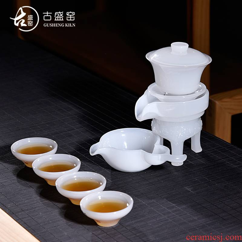 The ancient jade white jade porcelain of a complete set of kung fu sheng up new four people all semi - automatic lazy tea home office suits for