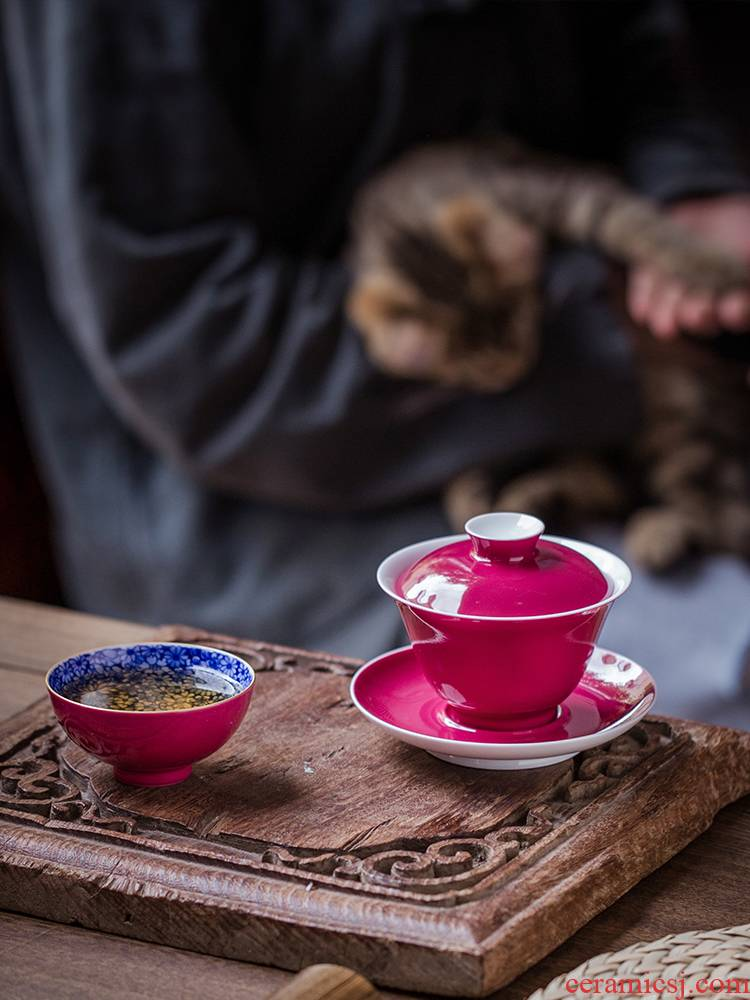 Carmine to use hand rouge glaze three tureen jingdezhen ceramic cups kung fu tea tea bowl