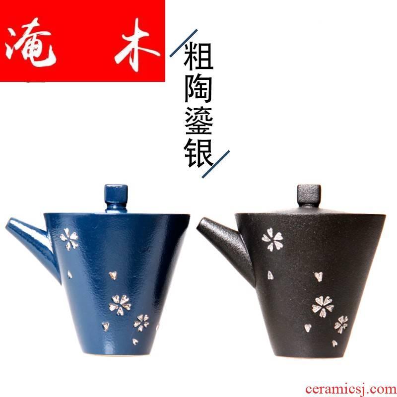 Flooded thick wooden tea friends TaoLiu silver hand catch a large pot of ceramics tureen tea ware kung fu tea set three bowl