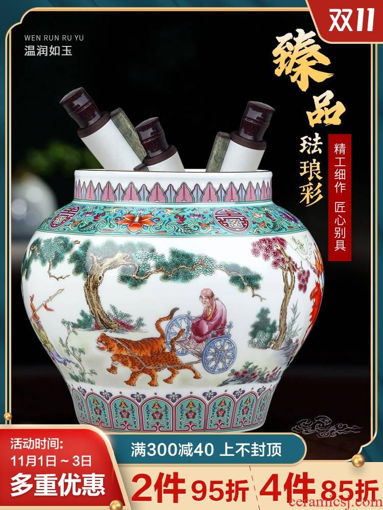 Jingdezhen ceramic antique guiguzi TV ark, desktop decorates porch cornucopia jar storage tank furnishing articles