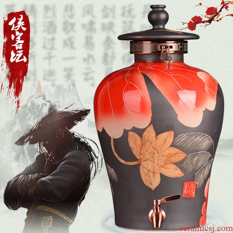 Jingdezhen ceramic jars mercifully jars it liquor bottles with tap chivalrous man altar household ceramic seal pot
