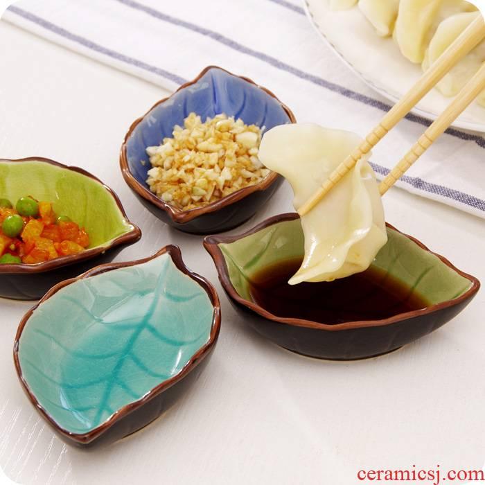 Tableware sauce vinegar dish dish/multi - purpose sauce dish seasoning sauce dish creative leaf ice crack glaze ceramic kitchen small plate