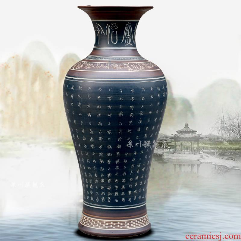 Jingdezhen carving ancient ceramic vase home furnishing articles archaize sitting room ground adornment study mesa process