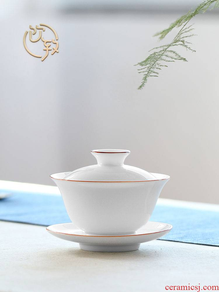 Ultimately responds to sweet white glazed porcelain tureen single jingdezhen prevent hot cups three big bowl tea ceramic kung fu tea set