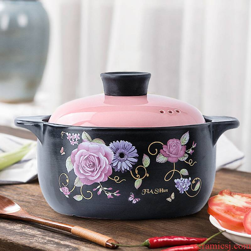 Small ceramic casserole stew pot of porridge with household health casserole high - temperature gas flame soup rice rice such as simmering