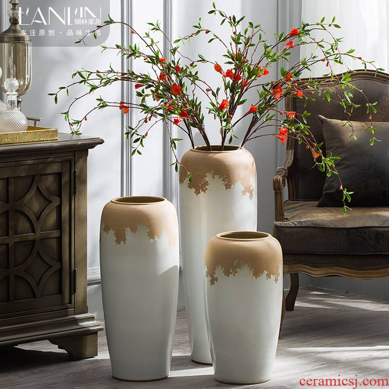I and contracted floor vase large sitting room flower arranging flower implement American hydroponic pot home decoration ceramic furnishing articles