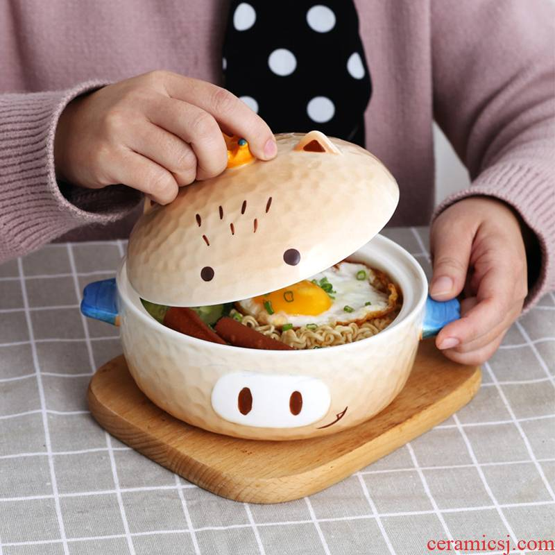 Lovely children eat rice bowl dormitories domestic large soup bowl Japanese girl heart ceramic piggy mercifully rainbow such as bowl with cover