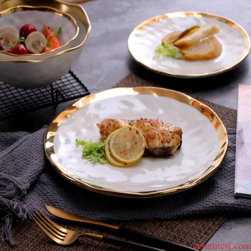 Western European ceramics steak matte enrolled paint plate plate of platinum fruit plates salad dishes with 0