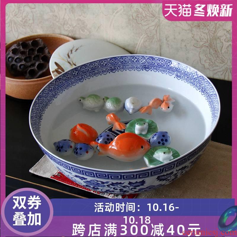 Jingdezhen blue and white porcelain basin pickled fish pickled fish bowl of boiled fish soup bowl basin blue and white porcelain bowls