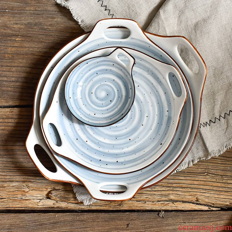 The Home plate Japanese creative fish dish ears irregular dish dish dish steamed vermicelli roll plate ceramic plates