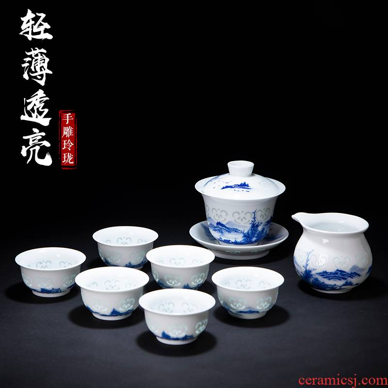Hand made blue and white and exquisite landscape tureen tea bowl ceramic kung fu tea set white porcelain teapot teacup