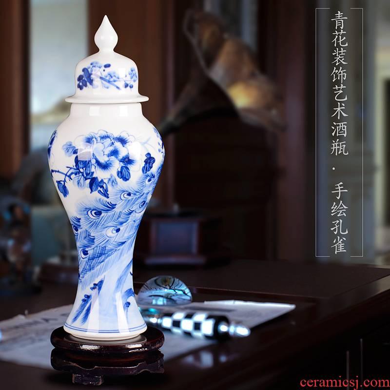 Jingdezhen ceramic bottle hand - made general blue and white porcelain pot jars liquor bottles of empty wine bottles general furnishing articles