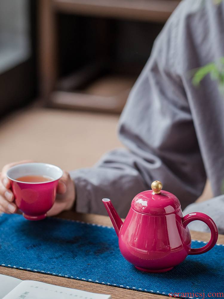 Teapot single kung fu rouge kettle pot of jingdezhen ceramics glaze ball hole, xi shi small tea pot of carmine