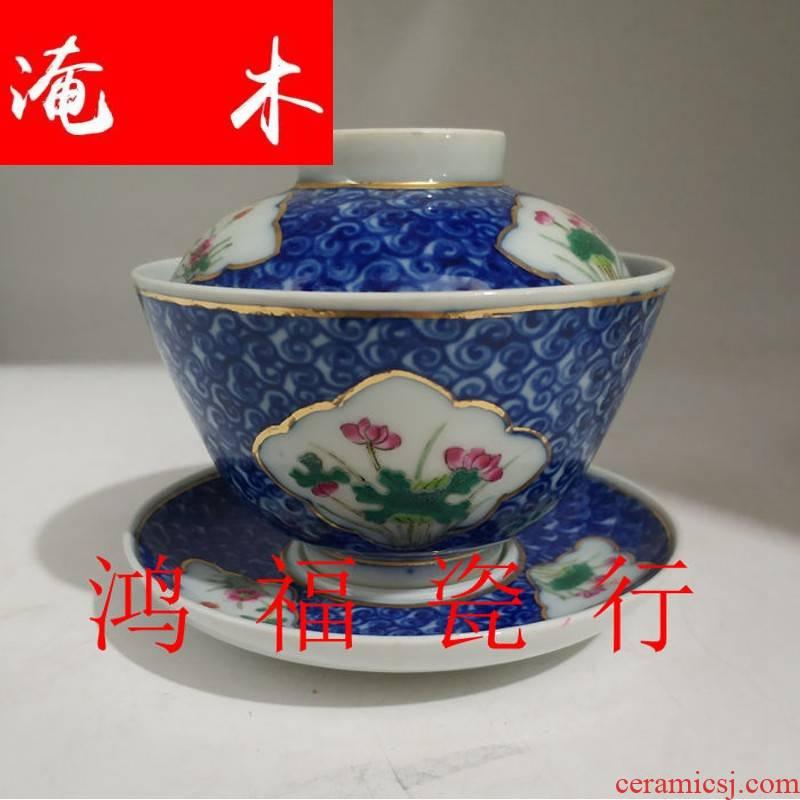 Submerged wood jingdezhen culture revolution factory goods blue - and - white porcelain seiko window pastel hand - made flowers tea tureen tea cups