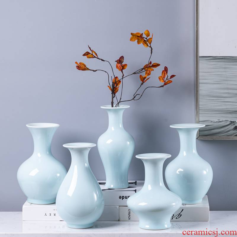 Jingdezhen ceramic floret bottle furnishing articles archaize sitting room of the new Chinese style flower arranging dried flower green porcelain decorative furnishing articles floral outraged