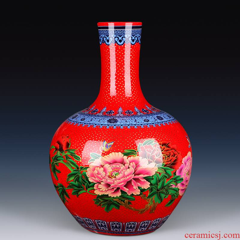 Jingdezhen ceramic large sitting room of large vase vase China red red of Chinese style porch TV ark, furnishing articles