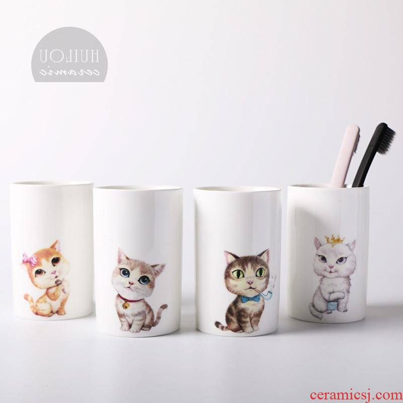 The kitchen creative cartoon cat ceramic bathroom gargle cup for wash gargle YaGang home coffee milk glass cups