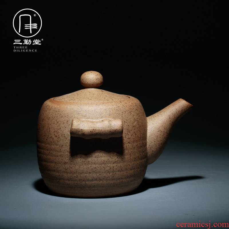 Three frequently hall coarse pottery teapot hand grasp kung fu tea set crack pot of jingdezhen ceramics cup zen one or two people use