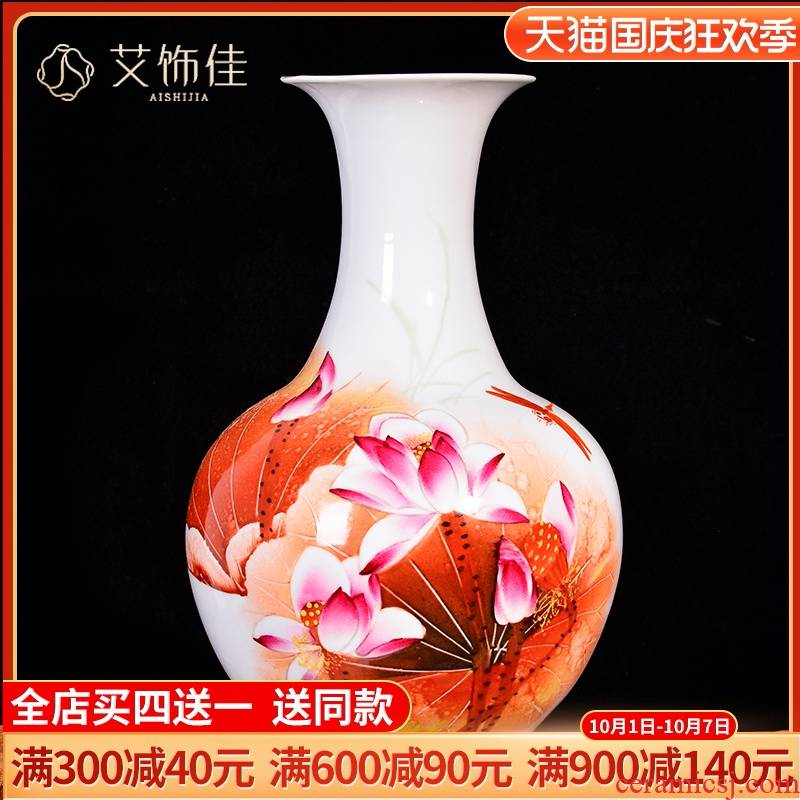 The Master of jingdezhen ceramics rhyme hand - made lotus flower arranging place to live in the living room TV cabinet decorative vase crafts