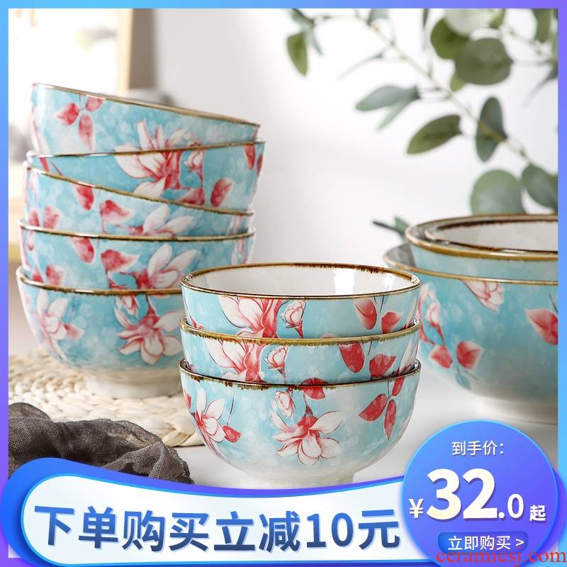 Japanese ceramic bowl with the creative move of the loaded 10 ipads porcelain bowl rainbow such as bowl bowl under a single glaze color tableware