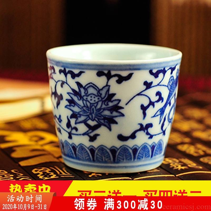 Jingdezhen ceramic creative antique glass wine cup of liquor restoring ancient ways of blue and white porcelain cups of wine to taste wine glasses