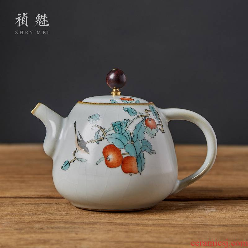 Shot incarnate the teapot jingdezhen ceramic your up hand - made painting of flowers and birds in kung fu tea set home to open the slice filter teapot can raise