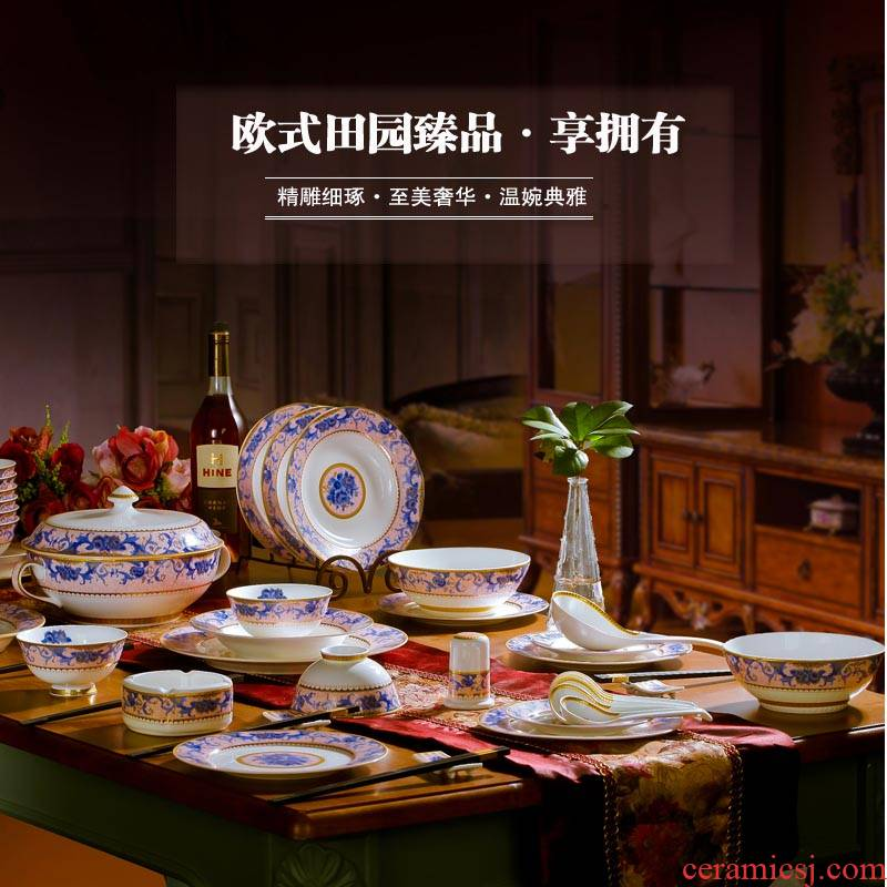 Red xin 56 + 2 head ipads jingdezhen porcelain tableware suit European key-2 luxury porcelain plate creative ceramic dishes