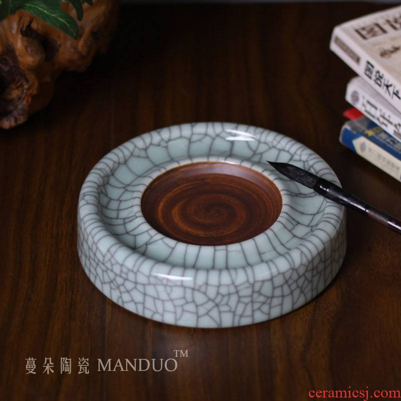 Elder brother up with open piece of ceramic ink stone antique piece of porcelain ink grinding machine Wen Fang treasures M a ceramic products