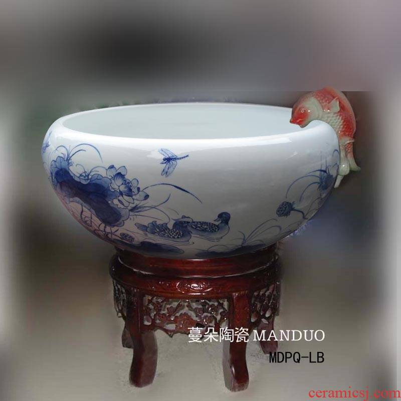 Fountain of jingdezhen blue and white porcelain lotus duck blue - and - white porcelain Fountain indoor Fountain at home