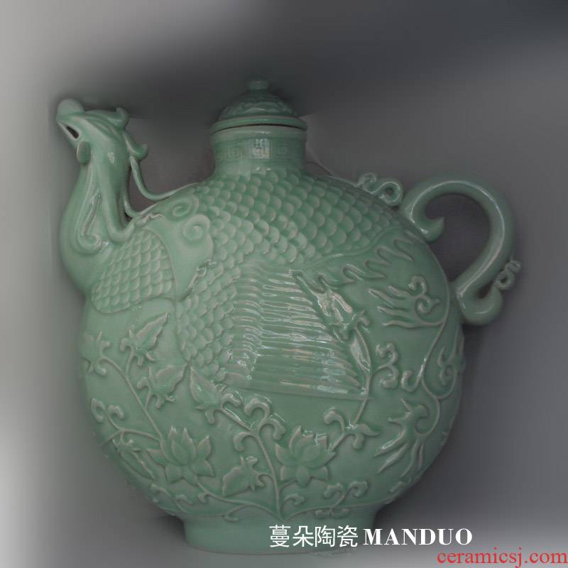 Jingdezhen pea green porcelain big flat pot crested porcelain pot of large flat display porcelain tea pot