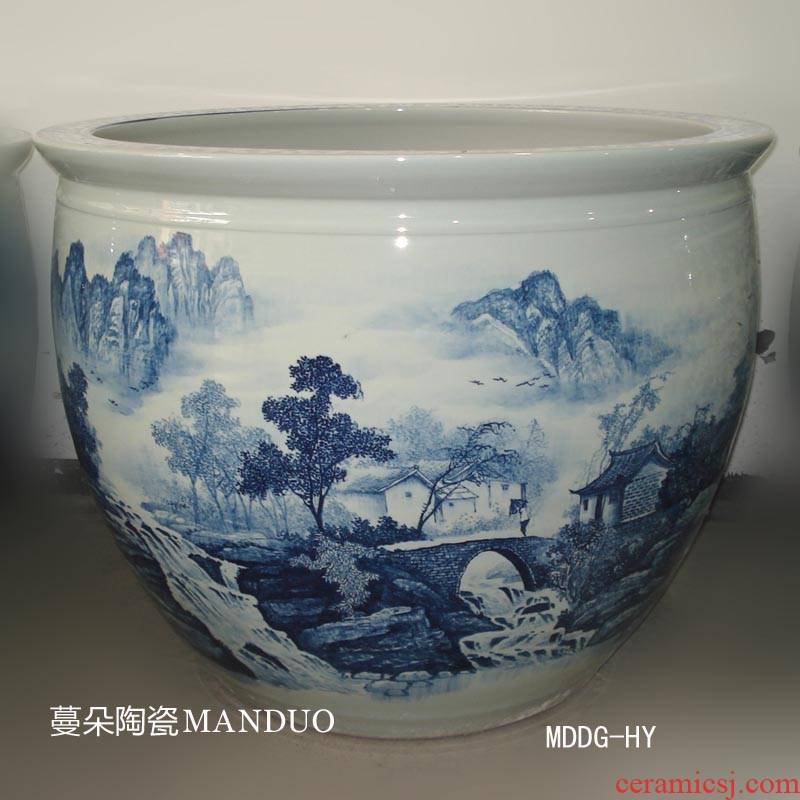 Jingdezhen hand - made scenery, 70, 90 porcelain large diameter cylinder temple high VAT hand - made scenery landscape courtyard cylinder