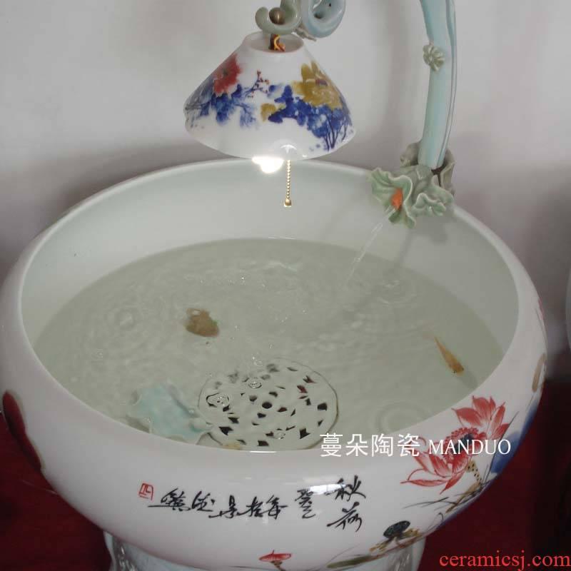 Jingdezhen version into fish goldfish goldfish version into gift porcelain porcelain cylinder cylinder cylinder fish lamp