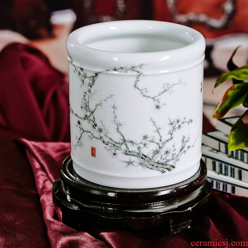Jingdezhen ceramic salted and dried name plum red xin 】 【 brush pot simple but elegant exquisite furnishing articles four treasures of the study
