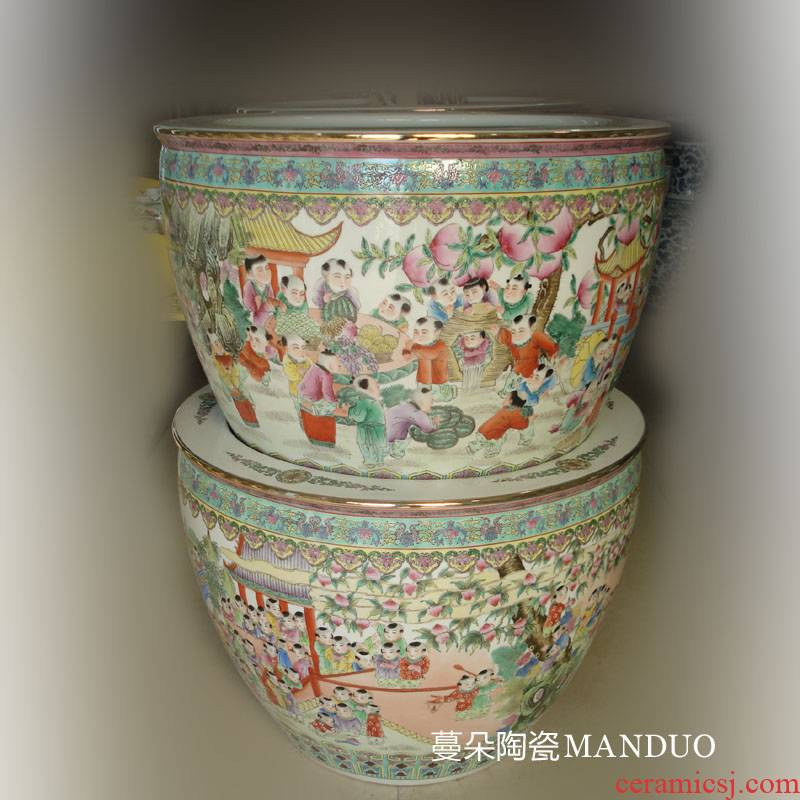 Jingdezhen hand - made figure baby play China VAT hand - made tong qu characters China VAT calligraphy and painting cylinder