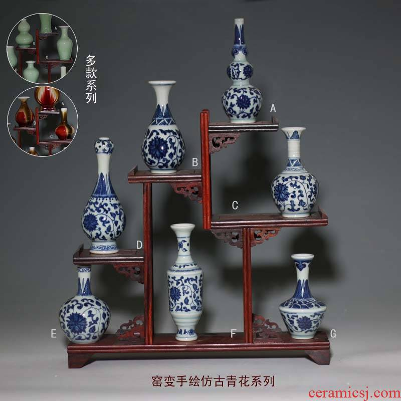 Rich ancient frame small jingdezhen blue and white porcelain series of 10-15 cm grace ancient porcelain pet furnishing articles furnishing articles tea
