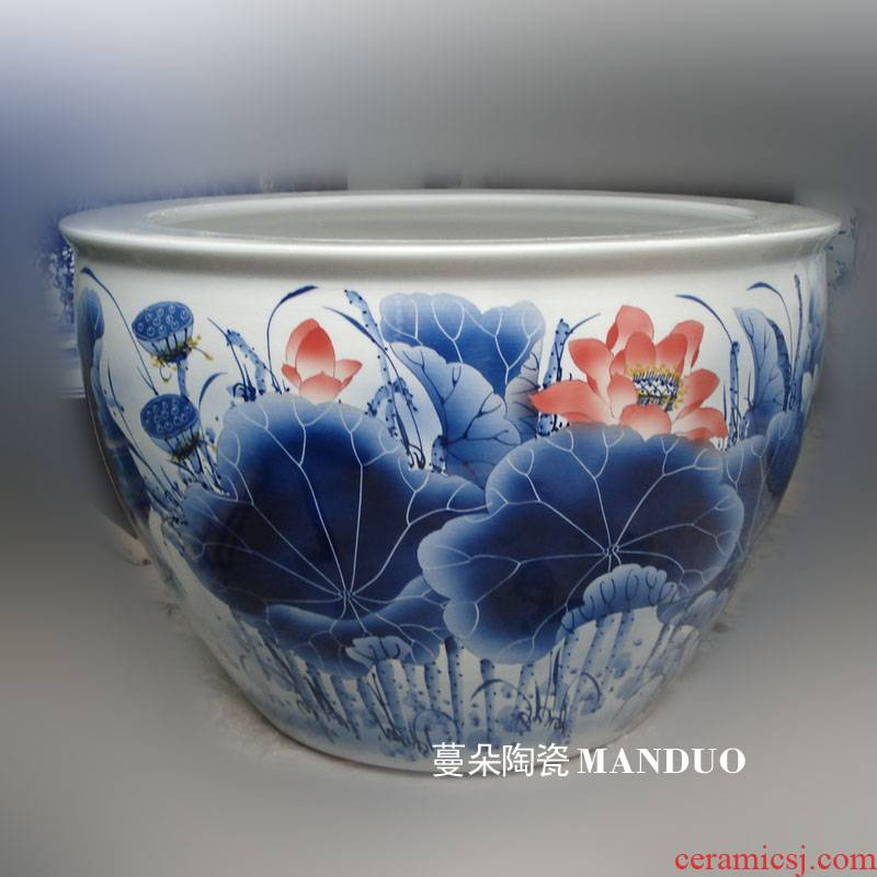 Jingdezhen blue and white lotus red carp hand - made porcelain crock peony color peony painting and calligraphy cylinder 800