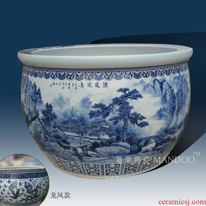 1.5 meters customized jingdezhen extra large diameter cylinder hand - made scenery longfeng lines meet tianshui heavy porcelain cylinder