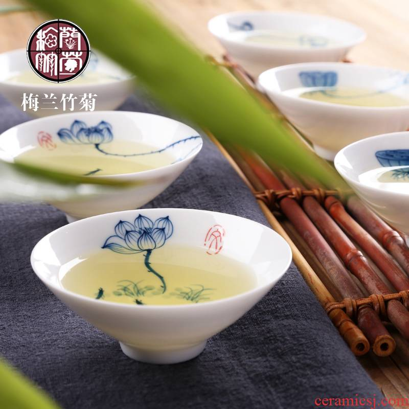Hand - made hat cup of blue and white porcelain ceramic single CPU kung fu tea cups master cup of creative tea tea cups