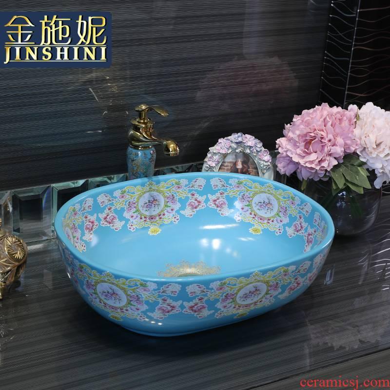 Gold cellnique modern fashion stage basin of continental sink basin blue toilet stage basin ceramic wash basin