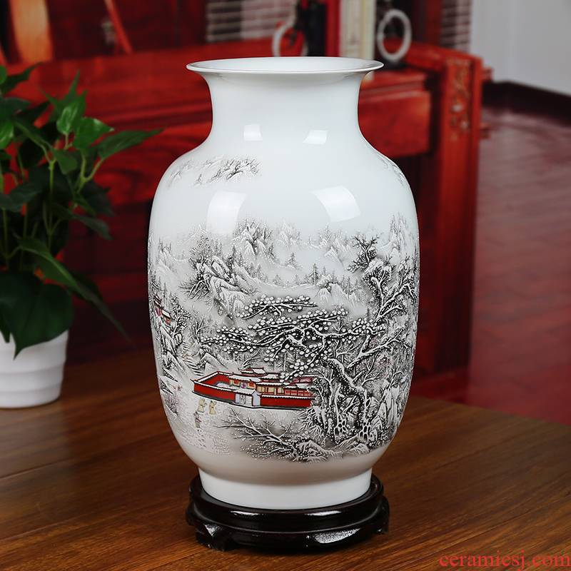 Jingdezhen ceramics powder enamel snow vase modern home sitting room place study decoration simple wedding gift